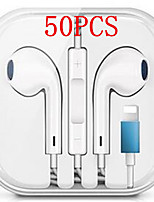 cheap -50PCS Wired Hybrid Stereo In-Ear Earphone for iPhone 7 8 Plus X XR XS max Earphones with Microphone and Wire Sound Control