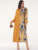 cheap -Women's Daily Work Casual Boho Shift Maxi Dress - Color Block Yellow M L XL XXL