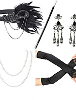 cheap -Dance Accessories 1920s / The Great Gatsby Women's Cotton / nylon with a hint of stretch / Feather / Fur Feather / Crystals Vintage / Costume & Disguise Sleeves / Earrings / Necklace