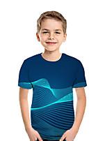 cheap -Kids Boys' Active Street chic Geometric 3D Patchwork Print Short Sleeve Tee Light Blue