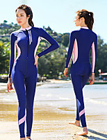 cheap -Women's Rash Guard Dive Skin Suit Elastane Swimwear Bodysuit Thermal / Warm UV Sun Protection Breathable Long Sleeve Front Zip - Swimming Diving Water Sports Patchwork Autumn / Fall Spring Summer