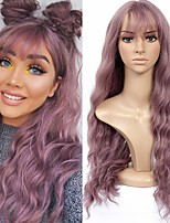 cheap -Synthetic Wig Wavy Loose Curl With Bangs Wig Long Purple Synthetic Hair 26 inch Women's Adorable New Arrival Romantic Purple
