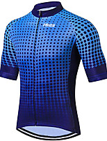 cheap -21Grams Men's Short Sleeve Cycling Jersey 100% Polyester Blue Dot Bike Jersey Top Mountain Bike MTB Road Bike Cycling UV Resistant Breathable Quick Dry Sports Clothing Apparel / Stretchy / Race Fit