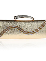 cheap -Women's Crystals Polyester / PU Evening Bag Solid Color Gold / Silver / Gray