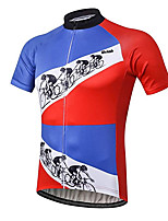 cheap -21Grams Men's Short Sleeve Cycling Jersey 100% Polyester Red+Blue Bike Jersey Top Mountain Bike MTB Road Bike Cycling UV Resistant Breathable Quick Dry Sports Clothing Apparel / Stretchy