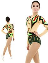 cheap -Rhythmic Gymnastics Leotards Artistic Gymnastics Leotards Women's Girls' Kids Leotard Spandex High Elasticity Handmade Long Sleeve Competition Dance Rhythmic Gymnastics Artistic Gymnastics Green