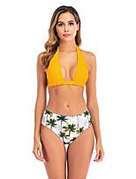 cheap -Women's Basic Boho Black Yellow Red Halter High Waist Bikini Swimwear Swimsuit - Floral Lace up S M L Black