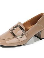 cheap -Women's Heels Chunky Heel Round Toe PU Spring & Summer Black / Khaki