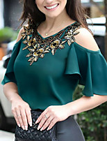 cheap -Women's Daily Going out Street chic / Elegant T-shirt - Geometric / Solid Colored Cut Out / Patchwork / Print Black