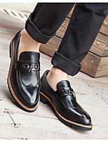 cheap -Men's PU Spring & Summer Vintage Loafers & Slip-Ons Walking Shoes Wear Proof Black / Light Red / Wedding