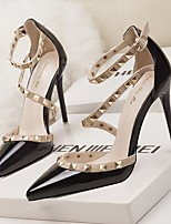 cheap -Women's Sandals Rockstud shoes Stiletto Heel Pointed Toe PU Summer Nude / Red / White