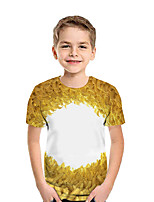 cheap -Kids Boys' Active Street chic Geometric 3D Patchwork Print Short Sleeve Tee Yellow