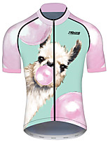 cheap -21Grams Men's Short Sleeve Cycling Jersey 100% Polyester Pink+Green Animal Bike Jersey Top Mountain Bike MTB Road Bike Cycling UV Resistant Breathable Quick Dry Sports Clothing Apparel / Stretchy