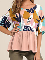 cheap -Women's Daily T-shirt - Striped Blushing Pink