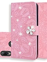 cheap -Case For Huawei Honor 8A/7X / Mate 10 lite Wallet / Card Holder / Rhinestone Full Body Cases Solid Colored / Glitter Shine PU Leather For Mate 20 Pro/Mate 20 Lite/Y6 Pro 2019/Y7 Prime 2019/Y9 2019