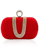 cheap -Women's Crystals / Chain Polyester Evening Bag Solid Color Black / Fuchsia / Royal Blue