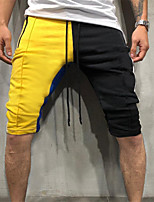 cheap -Men's Running Shorts Drawstring Color Block Yellow / Black Red+Blue Green / Black Dusty Rose Cotton Running Fitness Gym Workout Shorts Sport Activewear Breathable Soft Stretchy