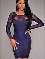 cheap -Women's Red Blue Dress Bodycon Print S M Slim