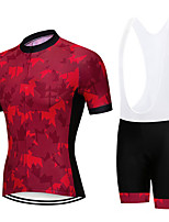 cheap -21Grams Men's Short Sleeve Cycling Jersey with Bib Shorts Red Leaf Bike Clothing Suit UV Resistant Breathable 3D Pad Quick Dry Sweat-wicking Sports Solid Color Mountain Bike MTB Road Bike Cycling