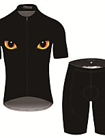 cheap -21Grams Men's Short Sleeve Cycling Jersey with Shorts Black / Yellow Bike Clothing Suit UV Resistant Breathable 3D Pad Quick Dry Sweat-wicking Sports Solid Color Mountain Bike MTB Road Bike Cycling