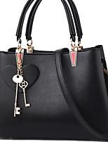 cheap -Women's Zipper PU Top Handle Bag Solid Color Red / Black / Gray