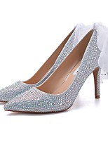cheap -Women's Wedding Shoes Stiletto Heel Pointed Toe Rhinestone PU Spring & Summer Red / Silver