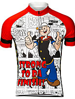 cheap -21Grams Men's Short Sleeve Cycling Jersey 100% Polyester Red / White Cartoon Funny Bike Jersey Top Mountain Bike MTB Road Bike Cycling UV Resistant Breathable Quick Dry Sports Clothing Apparel