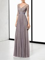 cheap -Sheath / Column Elegant Grey Wedding Guest Formal Evening Dress V Neck Half Sleeve Floor Length Chiffon with Pleats Lace Insert 2020