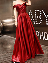 cheap -A-Line Off Shoulder Floor Length Spandex / Satin Sexy / Red Prom / Formal Evening Dress with Criss Cross 2020