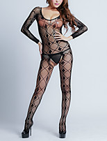 cheap -Women's Cut Out Bodysuits Nightwear Solid Colored Black S M L