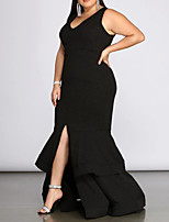 cheap -Mermaid / Trumpet V Neck Floor Length Spandex Plus Size / Black Prom / Formal Evening Dress with Tier / Ruffles / Pleats 2020