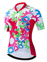 cheap -21Grams Women's Short Sleeve Cycling Jersey 100% Polyester Red / White Gear Bike Jersey Top Mountain Bike MTB Road Bike Cycling UV Resistant Breathable Quick Dry Sports Clothing Apparel / Stretchy