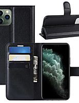 cheap -Case For Apple iPhone 11 / iPhone 11 Pro / iPhone 11 Pro Max Wallet / Card Holder / Flip Full Body Cases Solid Colored PU Leather / TPU