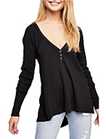 cheap -Women's Daily T-shirt - Solid Colored Black