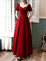 cheap -A-Line Sweetheart Neckline Floor Length Velvet Retro / Red Prom / Formal Evening Dress with Pleats 2020