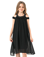 cheap -Kids Girls' Cute Street chic Solid Colored Ruched Mesh Sleeveless Knee-length Dress Black