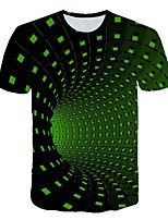 cheap -Women's Daily Sports Basic / Street chic T-shirt - 3D / Visual Deception Print Green