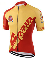 cheap -21Grams Men's Short Sleeve Cycling Jersey 100% Polyester Red / Yellow Spain National Flag Bike Jersey Top Mountain Bike MTB Road Bike Cycling UV Resistant Breathable Quick Dry Sports Clothing Apparel