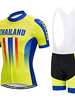 cheap -21Grams Men's Short Sleeve Cycling Jersey with Bib Shorts Black / Yellow National Flag Bike Clothing Suit UV Resistant Breathable 3D Pad Quick Dry Sweat-wicking Sports Letter & Number Mountain Bike