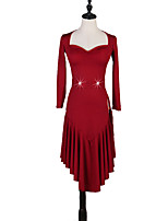 cheap -Latin Dance Dresses Women's Performance Milk Fiber Ruching / Pleats / Split Joint Long Sleeve Natural Dress / Belt