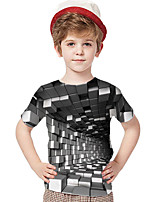 cheap -Kids Toddler Boys' Active Basic Rubik's Cube Geometric Color Block 3D Print Short Sleeve Tee Gray