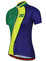 cheap -21Grams Women's Short Sleeve Cycling Jersey 100% Polyester Blue+Green Brazil National Flag Bike Jersey Top Mountain Bike MTB Road Bike Cycling UV Resistant Breathable Quick Dry Sports Clothing Apparel