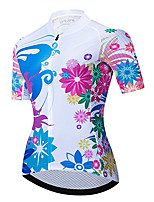 cheap -21Grams Women's Short Sleeve Cycling Jersey 100% Polyester Red / White Floral Botanical Bike Jersey Top Mountain Bike MTB Road Bike Cycling UV Resistant Breathable Quick Dry Sports Clothing Apparel
