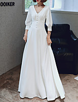 cheap -A-Line V Neck Floor Length Spandex Elegant / White Engagement / Formal Evening Dress with Buttons / Pleats 2020