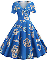 cheap -Women's Party Daily Vintage Style Active Swing Dress - Print Patchwork Print Blue S M L XL