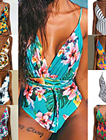 cheap -Women's One Piece Swimsuit Swimwear UV Sun Protection Breathable Quick Dry Sleeveless Swimming Water Sports Floral / Botanical Spring Summer / High Elasticity