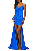 cheap -Mermaid / Trumpet Spaghetti Strap Asymmetrical Polyester Sexy / Blue Party Wear / Formal Evening Dress with Ruched 2020