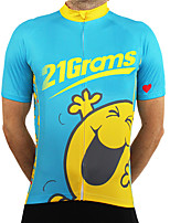 cheap -21Grams Men's Short Sleeve Cycling Jersey 100% Polyester Blue+Orange Cartoon Bike Jersey Top Mountain Bike MTB Road Bike Cycling UV Resistant Breathable Quick Dry Sports Clothing Apparel / Stretchy