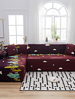cheap -Cartoon Cactus Print Dustproof All-powerful Slipcovers Stretch L Shape Sofa Cover Super Soft Fabric Couch Cover with One Free Pillow Case