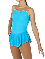 cheap -Figure Skating Dress Women's Girls' Ice Skating Dress Blue Spandex High Elasticity Competition Skating Wear Patchwork Crystal / Rhinestone Sleeveless Ice Skating Figure Skating / Kids
